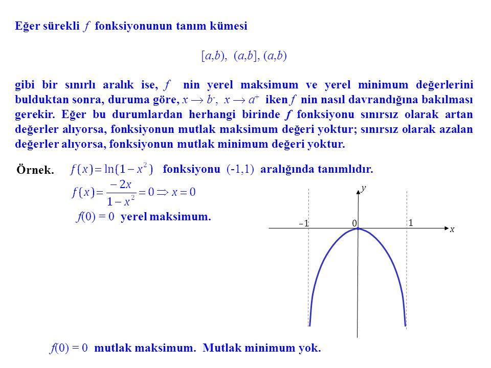Eğer sürekli f fonksiyonunun tanım kümesi [a,b), (a,b], (a,b)